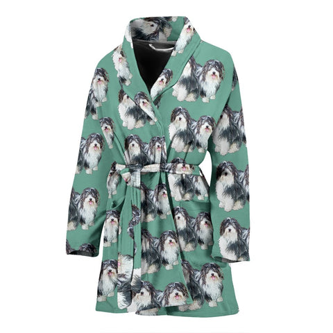 Lovely Havanese Dog Pattern Print Women's Bath Robe