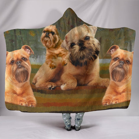 Brussels Griffon family Print Hooded Blanket
