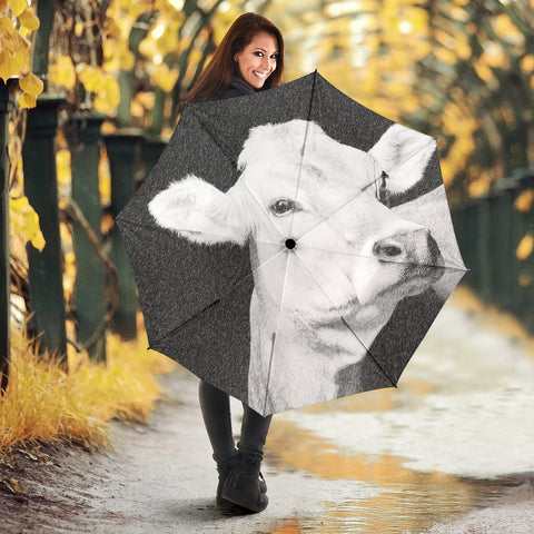 Brown Swiss cattle (Cow) Print Umbrellas