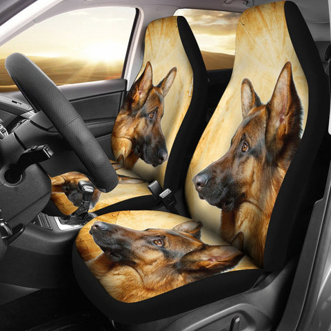 German Shepherd On Yellow Print Car Seat Covers