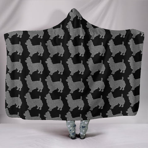 Australian Terrier Dog Black Pattern Print Hooded Blanket