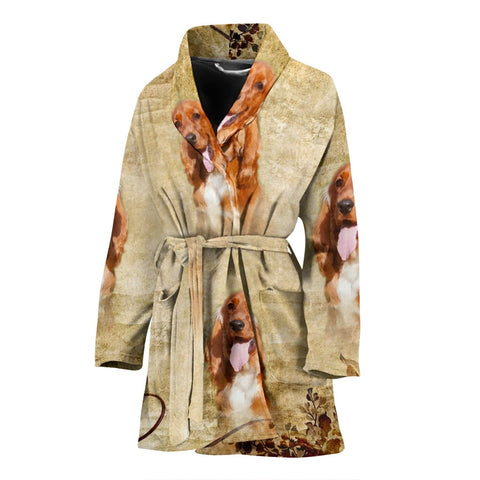 Cute Cocker Spaniel Print Women's Bath Robe