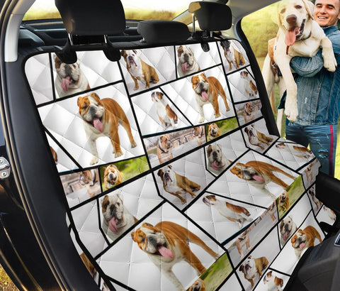 Bulldog Collage Print Pet Seat Covers