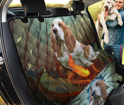 Cute Basset Hound Dog Print Pet Seat Covers