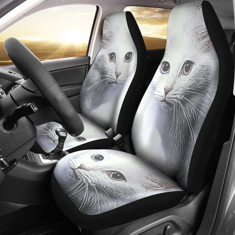 Turkish Angora Cat Print Car Seat Covers