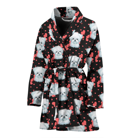 Maltese Dog Heart Pattern Print Women's Bath Robe