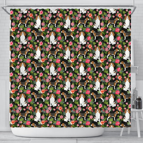 Beagle Dog Floral Print Shower Curtains