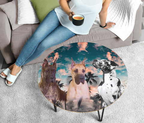Great Dane Print Circular Coffee Table