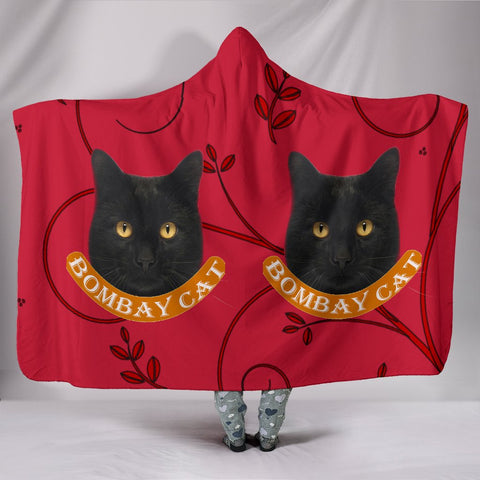 Bombay Cat Print On Red Hooded Blanket