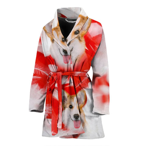 Pembroke Welsh Corgi Print Women's Bath Robe