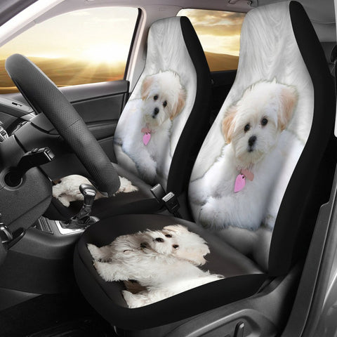 Cute Maltese Dog Print Car Seat Covers