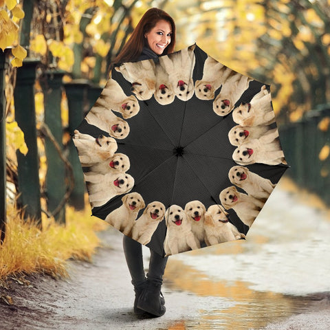 Cute Golden Retriever Puppy Print Umbrellas