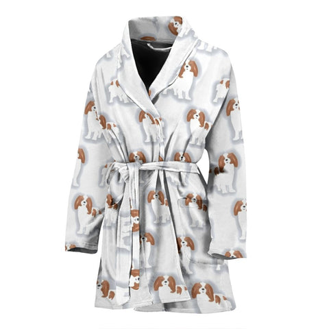 Cavalier King Charles Spaniel Patterns Print Women's Bath Robe