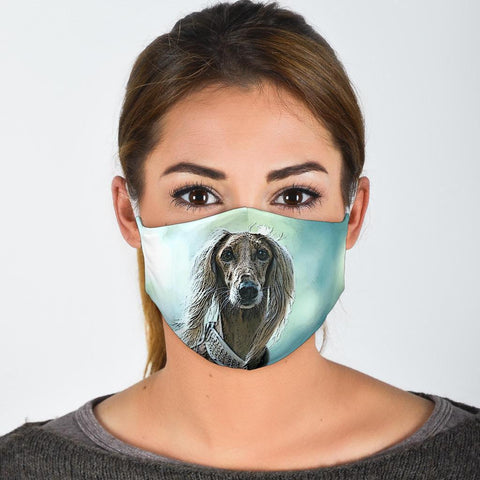 Afghan Hound On Blue Print Face Mask