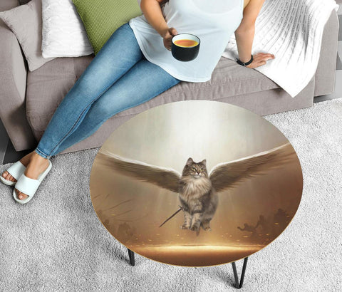 Norwegian Forest cat Print Circular Coffee Table