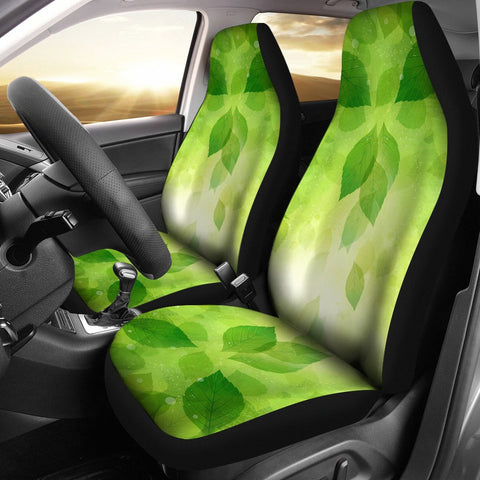Green Leaves Print Car Seat Covers