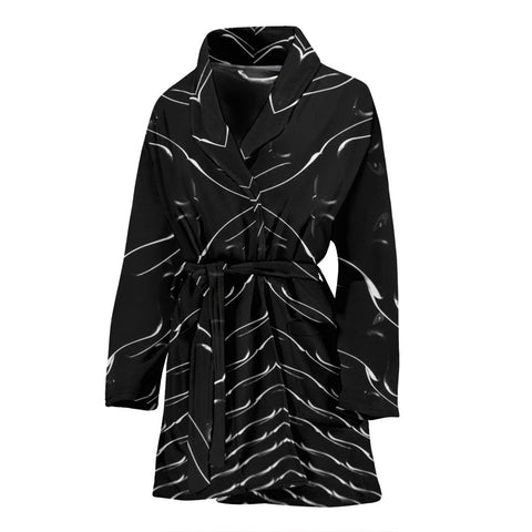 Black Patterns Print Women's Bath Robe