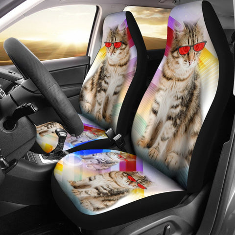 Siberian Cat With Red Glasses Print Car Seat Covers