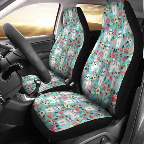 Shih Tzu Dog Floral Print Car Seat Covers