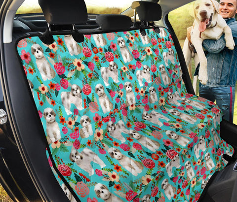 Shih Tzu Dog Floral Print Pet Seat Cover