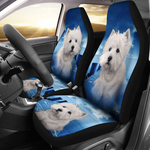 Cute Westie Dog Print Car Seat Covers