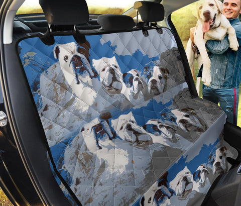 Bulldog Rushmore Mount Print Pet Seat Covers