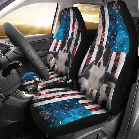 Border Collie Floral Print Car Seat Covers