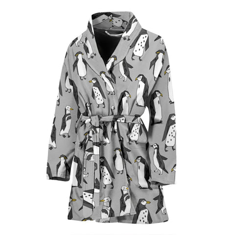 Penguin Bird Pattern Print Women's Bath Robe