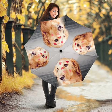 Cute Golden Retriever On Pink Print Umbrellas