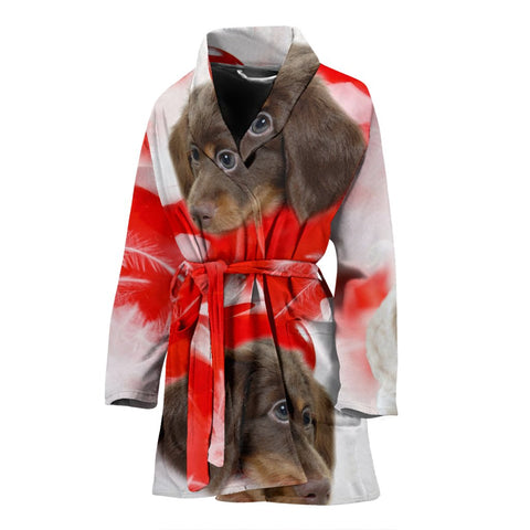 Dachshund Dog Print Women's bath Robe