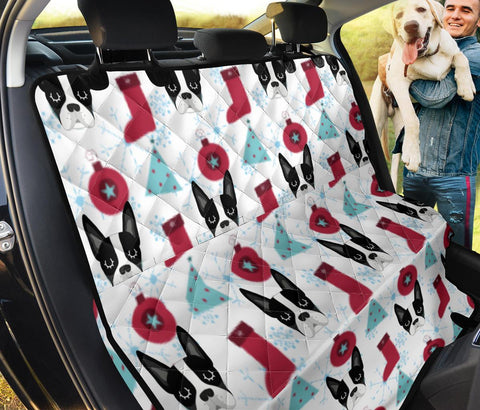 Boston Terrier Christmas Patterns Print Pet Seat Covers