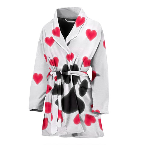 Paws Print With heart Women's Bath Robe