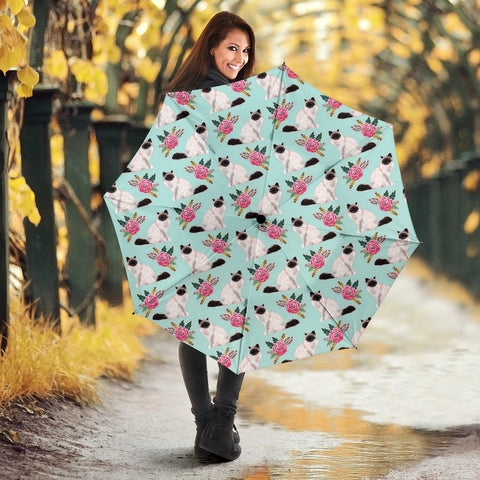 Birman Cat Floral Print Umbrellas