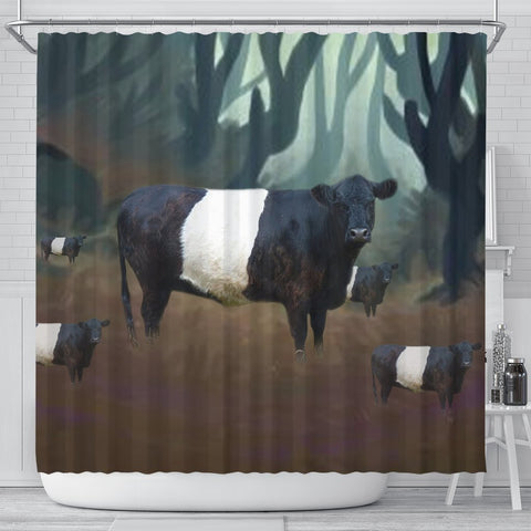 Belted Galloway Cattle (Cow) Print Shower Curtain