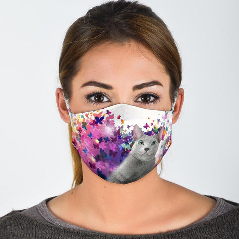 Russian Blue Cat Print Face Mask