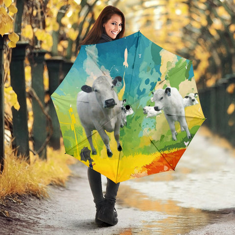 British White Cattle (Cow) Print Umbrellas