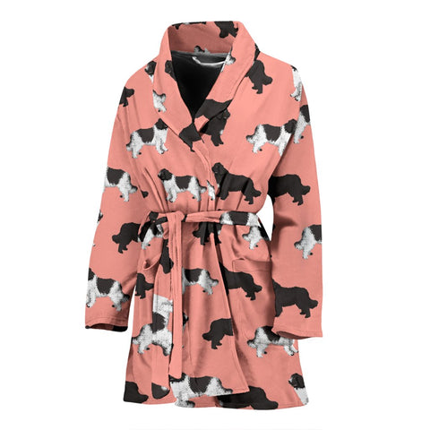 Newfoundland Dog Pattern Print Women's Bath Robe