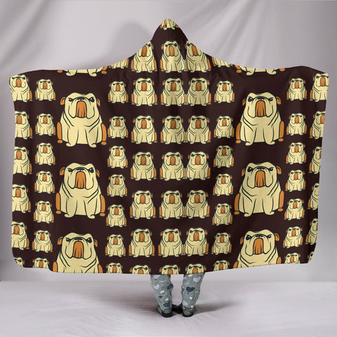 Bulldog Pattern Print Hooded Blanket