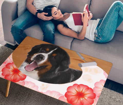 Cute Bernese Mountain Dog Floral Print Rectangular Coffee Table