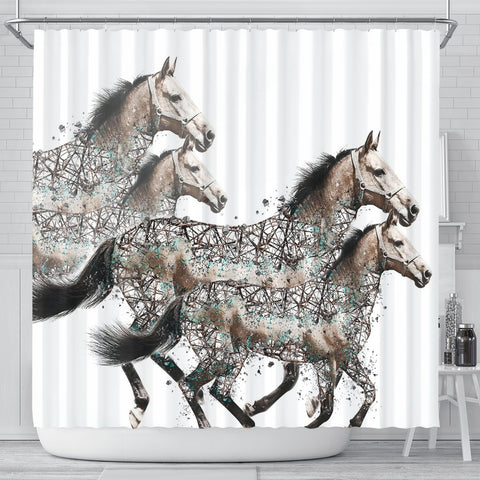 American Quarter Horse Art Print Shower Curtains