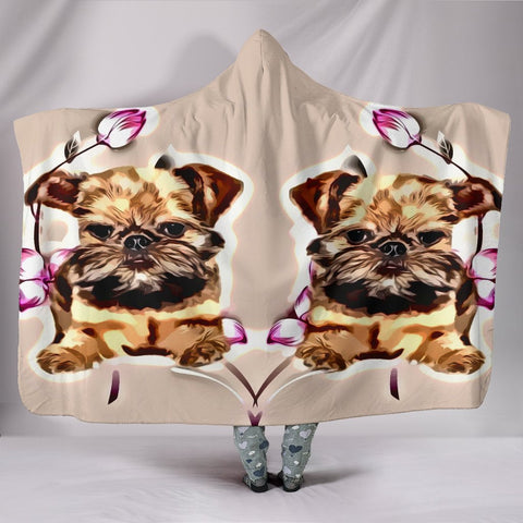 Brussels Griffon Print Hooded Blanket