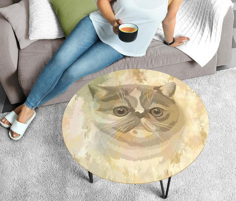 Exotic Shorthair Cat Print Circular Coffee Table