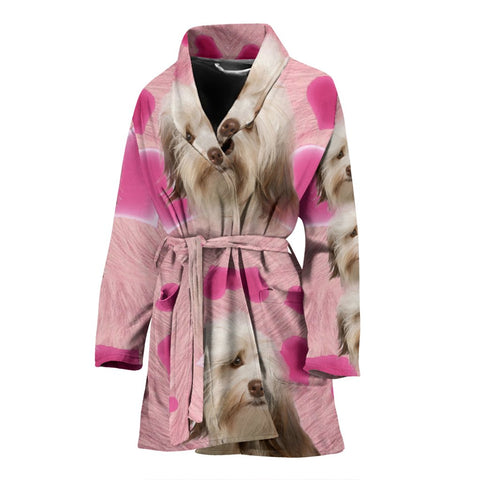 Havanese On Pink Print Women's Bath Robe
