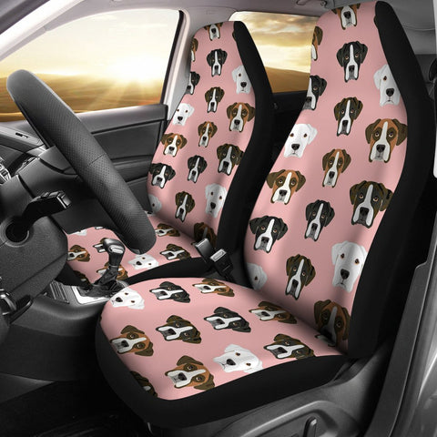Boxer Dog On Pink Print Car Seat Covers