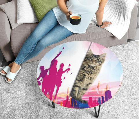 Maine Coon Cat Print Circular Coffee Table