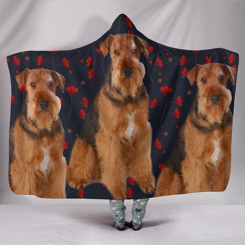 Amazing Airedale Terrier floral Print Hooded Blanket