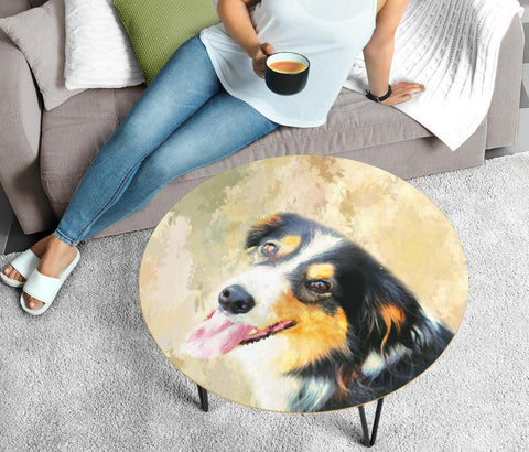 English Shepherd Dog Print Circular Coffee Table