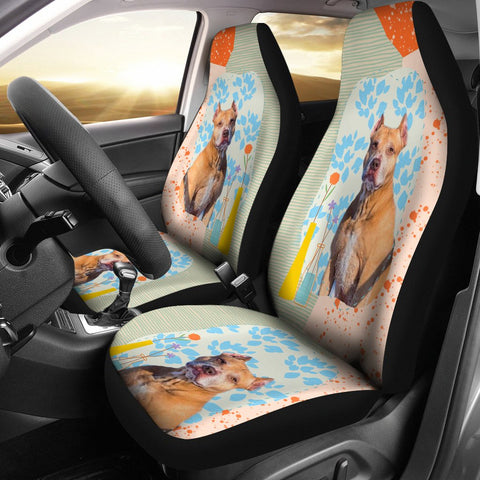 Cute American Pit Bull Terrier Print Car Seat Covers