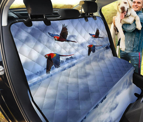 Blue Winged Macaw In Sky Print Pet Seat Covers
