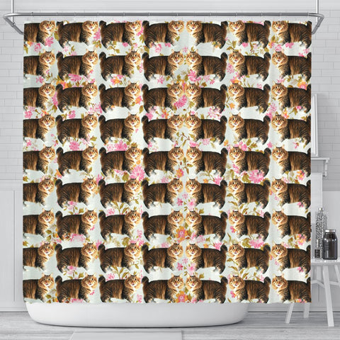 American Bobtail Cat Floral Print Shower Curtains